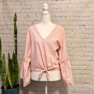 Anthropologie Lavender Field Pink Striped Blouse